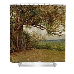 The Landing Of Columbus Shower Curtain by Albert Bierstadt