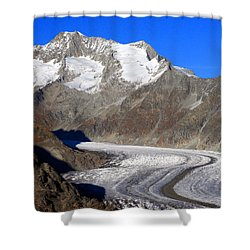 The Large Aletsch Glacier In Switzerland Shower Curtain