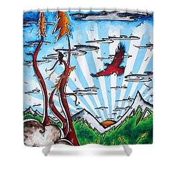 The Last Frontier Original Madart Painting Shower Curtain by Megan Duncanson