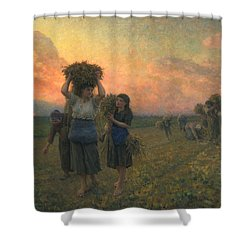 The Last Gleanings Shower Curtain by Jules Breton