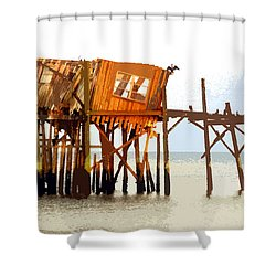 The Last Of Old Cedar Key Shower Curtain by David Lee Thompson