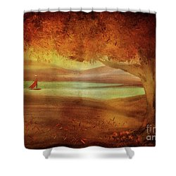 Shower Curtain featuring the digital art The Last Sail Of The Season  by Lois Bryan