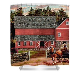The Last Wagon Shower Curtain by Ron Chambers