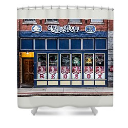 Shower Curtain featuring the photograph The Lasting Room - Haverhill Red Sox Pride by Betty Denise