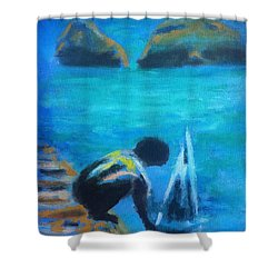 The Launch Sjosattningen Shower Curtain