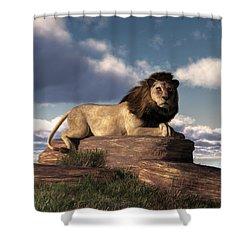 Shower Curtain featuring the digital art The Lazy Lion by Daniel Eskridge