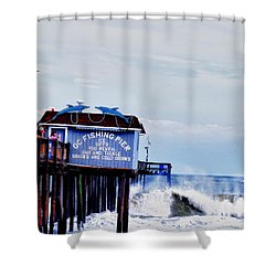 Shower Curtain featuring the photograph The Leaning Pier by Kelly Reber