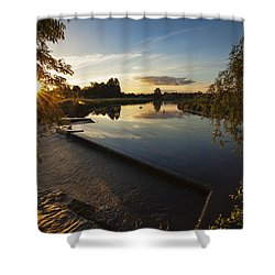 The Leap At Sunset Shower Curtain