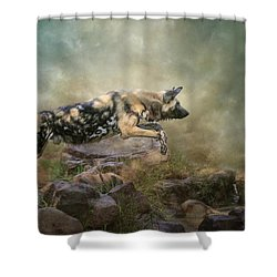 Shower Curtain featuring the digital art The Leap by Nicole Wilde