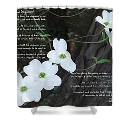 The Legend Of The Dogwood Shower Curtain by Andrea Anderegg