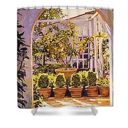 The Lemon Tree Courtyard Shower Curtain