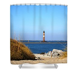 The Lighhouse At Morris Island Charleston Shower Curtain