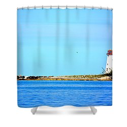 The Lighthouse At Sea Shower Curtain