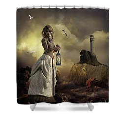 Shower Curtain featuring the digital art The Lighthouse Keeper's Daughter by Shanina Conway