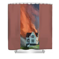 Shower Curtain featuring the digital art The Lighthouse Keeper's House by Lois Bryan