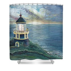 The Lighthouse Shower Curtain by Nadine Rippelmeyer