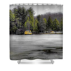 Shower Curtain featuring the photograph The Lighthouse On Frozen Pond by David Patterson