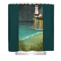 The Lighthouse On The Cliff Shower Curtain