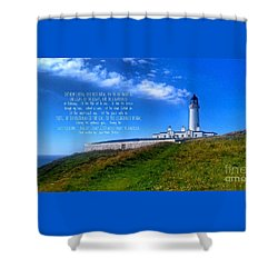 The Lighthouse On The Mull With Poem Shower Curtain