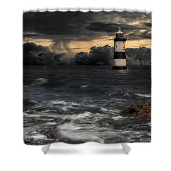 The Lighthouse Storm Shower Curtain