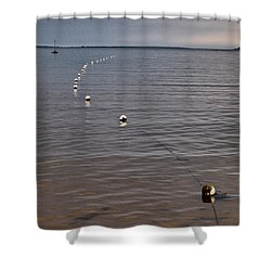 Shower Curtain featuring the photograph The Line by Jouko Lehto