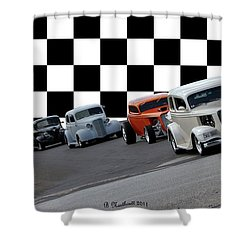 The Line-up Shower Curtain by Betty Northcutt