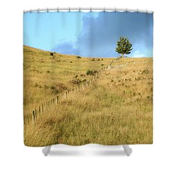 The Lines The Tree And The Hill Shower Curtain by Yoel Koskas
