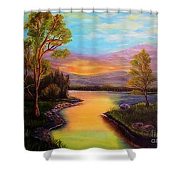 The Liquid Fire Of A Painted Golden Sunset Shower Curtain