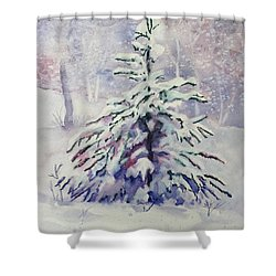 The Little Backyard Tree Shower Curtain by Karen Mattson