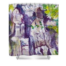 The Little Climbing Wall Shower Curtain by Jan Bennicoff