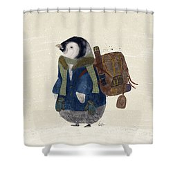Shower Curtain featuring the painting The Little Explorer by Bri B