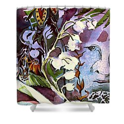 Shower Curtain featuring the painting The Little Gardener by Mindy Newman