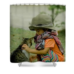 The Little Girl And Her Cat Shower Curtain