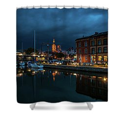 The Little Harbor In Stralsund Shower Curtain