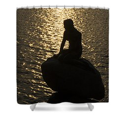 Shower Curtain featuring the photograph The Little Mermaid by Inge Riis McDonald