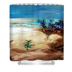 Shower Curtain featuring the painting The Little Pine Tree by Winsome Gunning