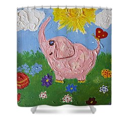 Little Pink Elephant Shower Curtain by Rita Fetisov