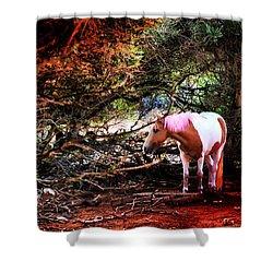 The Little Pink Unicorn By Pedro Cardona Shower Curtain by Pedro Cardona Llambias