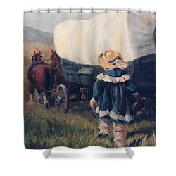 The Little Pioneer Western Art Shower Curtain by Kim Corpany