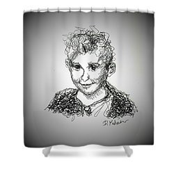 Shower Curtain featuring the drawing The Little Rapper by Denise Fulmer
