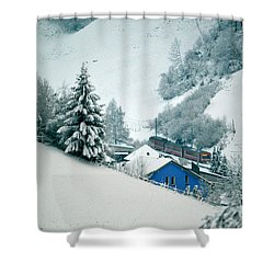 Shower Curtain featuring the photograph The Little Red Train - Winter In Switzerland  by Susanne Van Hulst