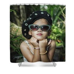 The Little Thinking Girl Shower Curtain