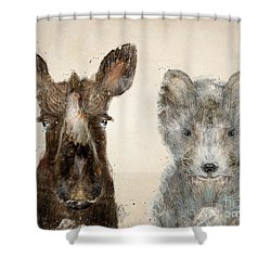 The Little Wolf And Moose Shower Curtain