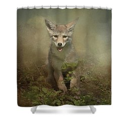Shower Curtain featuring the digital art The Littlest Pack Member by Nicole Wilde