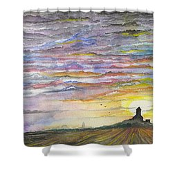 Shower Curtain featuring the digital art The Living Sky by Darren Cannell
