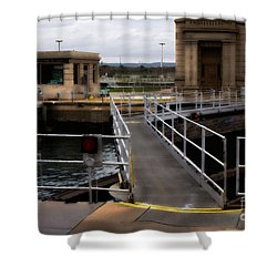 The Locks At Sault Ste Marie Michigan Shower Curtain by David Blank