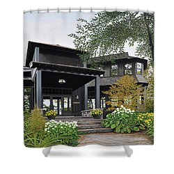 Shower Curtain featuring the painting The Lodge At Fawn Island by Kenneth M Kirsch
