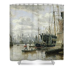 The Log Cabin At Hamburg Harbour Shower Curtain by Valentin Ruths