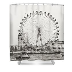 The London Eye Shower Curtain by Vincent Alexander Booth