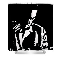 Shower Curtain featuring the drawing The Lonely Jazz Player by Robert Margetts